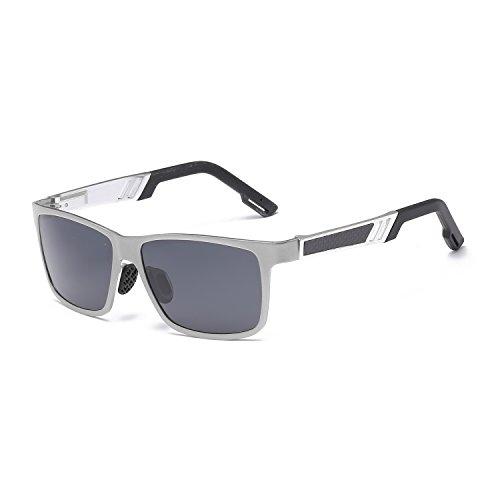 Sonnenbrille Sonnenbrille Herren Aluminium Magnesium Polarisierte Driving Mirror Bunte High-End-Square Sonnenbrille UV-Schutz UV400 (Farbe : Silver Frame Grey)
