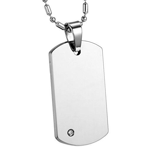 Carburo de tungsteno de alta Engravable JewelryWe pulido collar con colgante de cadena con chapa para hombre de color plateado, 55,88 cm (incluye bolsa de regalo) cadena