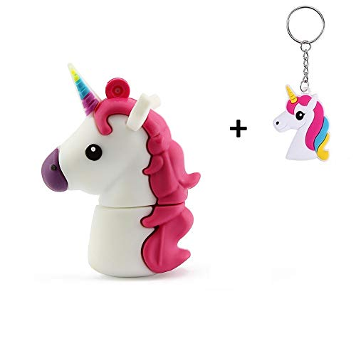 Lynneo Unicornio Blanco 16/32/64 GB USB Flash Drive USB Memoria Almacenamiento de Datos Pendrive. Regalo Ideal (16GB)