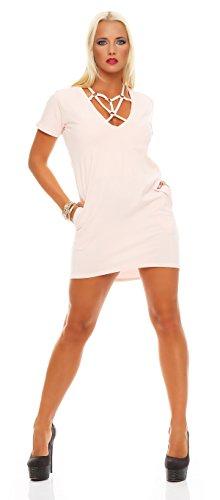 Damen Sexy Minikleid Kleid Dress Abendkleid Clubwear Cocktailkleid Gr. S M 36 38, 1544 Puderrosa S M