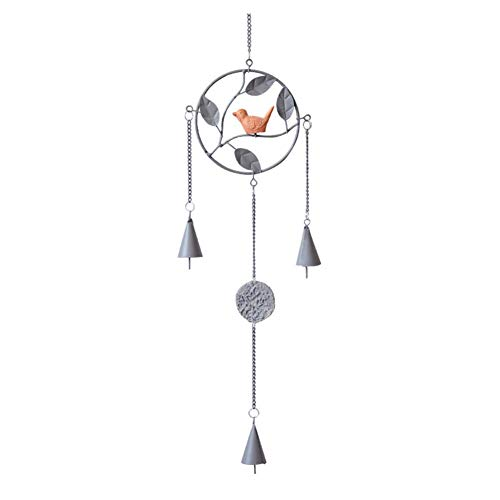Yililay Rund Vogel Wind Chimes Metall Eisen Craft Wind Glocken Indoor Outdoor Windspiel für Fenster Garten Dekoration Grau 12 * 67CM | Garten > Dekoration > Windspiele | Metall | Yililay