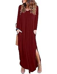 Xinwcang Mujer Vestido de Fiesta Largos Elegantes Tallas Grandes Vestidos de Noche Casual Manga Larga Playa