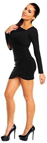 Zeta Ville - Robe courte - manches longues - robe tunique jersey - femme - 941z Noir