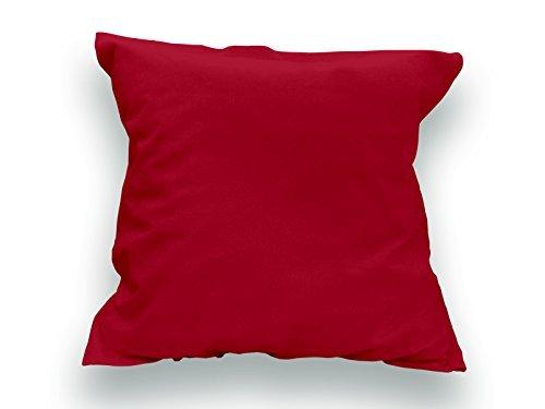 Soleil d'Ocre Taie d'oreiller coton 57 Fils uni rouge