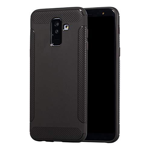 Carols Samsung Galaxy J8 (2018) Hülle, Samsung Galaxy J8 (2018) Case Flexiblem TPU Silikon Hybrid Schutzhülle Kohlenstoff-Fasern Tasche Ultra Slim Handyhülle für Samsung Galaxy J8 (2018) - Grau