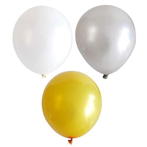 STOBOK 100 Piezas de Fiesta de Globos de látex de Brillo nacarado de 12 Pulgadas para Fiesta de cumpleaños Fiesta de Bienvenida al bebé de Carnaval (Dorado, Blanco, Plateado)