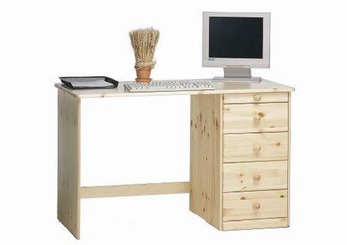 Steens Kent Schreibtisch, mit 3 Schubladen und einem Utensilienfach, 120 x 77 x 60 cm (B/H/T), Kiefer massiv, natur lackiert