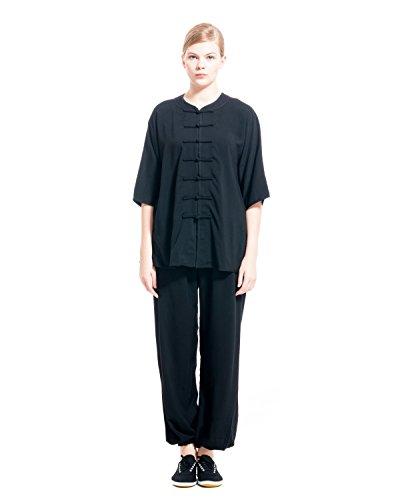 icnbuys Damen Tai Chi Uniform Baumwolle Hälfte ärmel Sommer, damen, schwarz