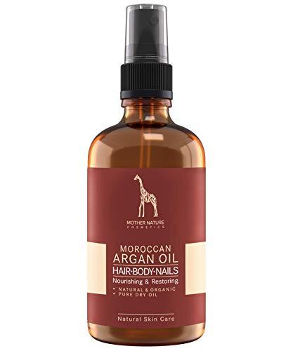 Marokkanisches Bio Argan Öl von Mother Nature Cosmetics - NATURKOSMETIK VEGAN - 100 ml organisches Argan Öl kaltgepresst für Haut, Gesicht, Haare und Nägel - OHNE Parabene, Silikone, Parfüme, Hormone