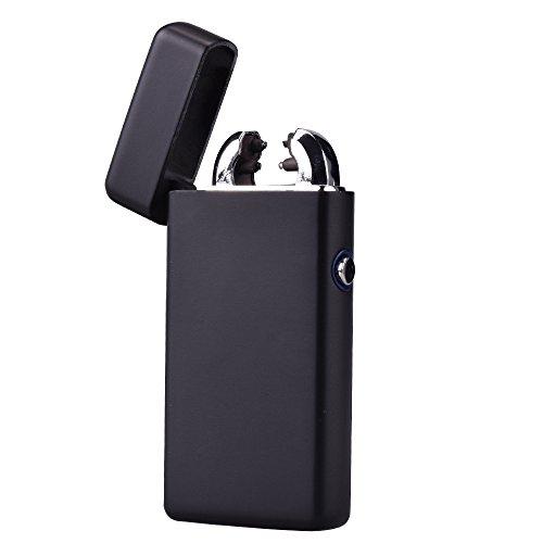 USB Elektronisches Feuerzeug Dual Lichtbogen Aufladbar Winddicht (Matt-Schwarz)