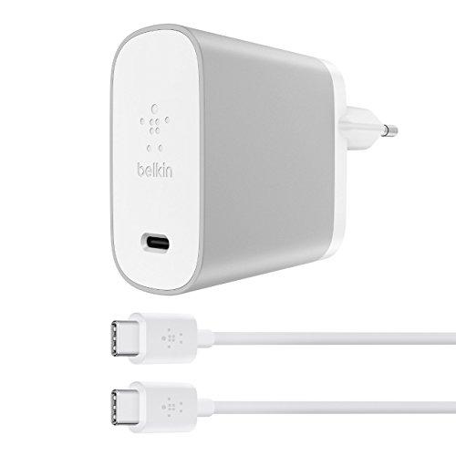 Belkin Cavo da USB-C a USB-C con Caricatore da Casa Universale, Compatibile con Google Pixel 2/2L, Samsung Galaxy S8/S8+/S9/S9+/Note 9 e iPad Pro, 45 W, 1.8 m, Argento