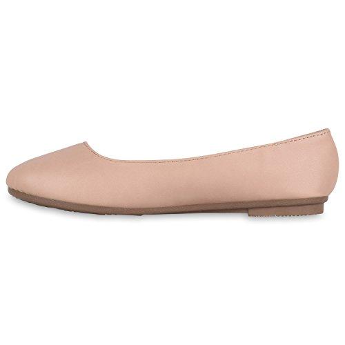 Damen Ballerinas Lack Slipper Flats Schuhe Lederoptik Rosa Perlen