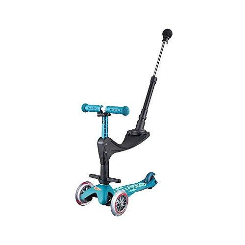 Micro Mini 3en1 Deluxe Plus. Patinete evolutivo 3 Ruedas, 1 - 5 años, Manillar Regulable 48-68cm, Asiento + Reposapiés + Bastón de Empuje, (Azul Hielo)