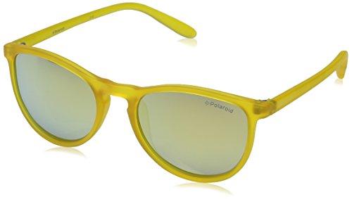 Polaroid PLD 8016/N LM PVI, Gafas de Sol Unisex Niños, Amarillo (Transparent Yellow/Grey Goldmir Pz) 48