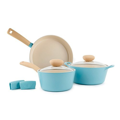 Retro 5 Piece Non-Stick Cookware Set, Mint by Neoflam
