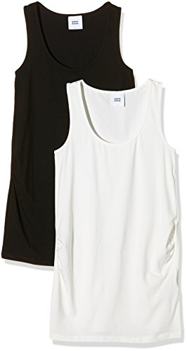 MAMALICIOUS MAMALICIOUS Damen Umstandstop Mllea Org Tank Top 2pack A. O, 2er, Mehrfarbig (Black Pack: Packed W Show White) 38 (Herstellergröße: S)