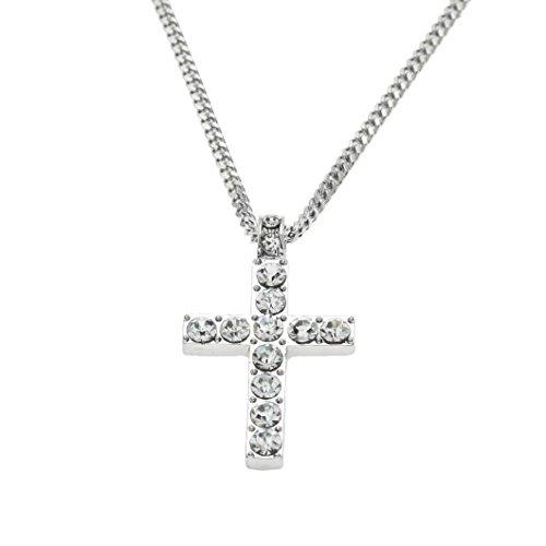 Strass Kristall Anhänger (erthome Anhänger, Damen Halskette Anhänger, Schmuck Bling Strass Kristall Kreuz Anhänger Halskette Für Hip Hop Männer Frauen (Silber))