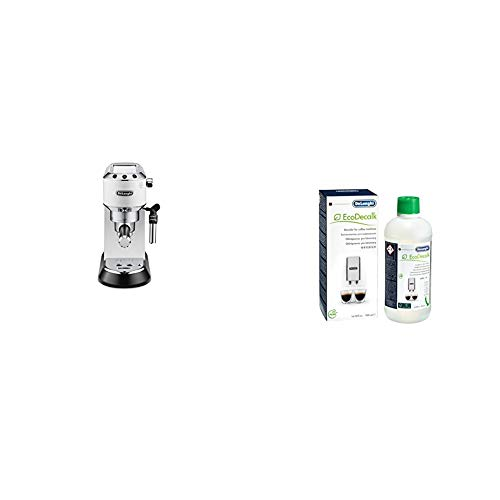 Produktbild DeLonghi Dedica EC 685.W Espresso Siebträgermaschine / 15 bar / Professionelle Milchschaum Düse / Weiß + EcoDecalk SER3018 Entkalker / Universal Kalklöser für 4 Entkalkungsvorgänge