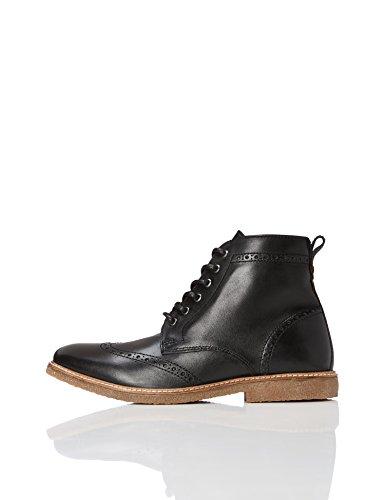 FIND Stiefel Herren aus Nappaleder mit Brogue-Design, Schwarz (Black), 42 EU