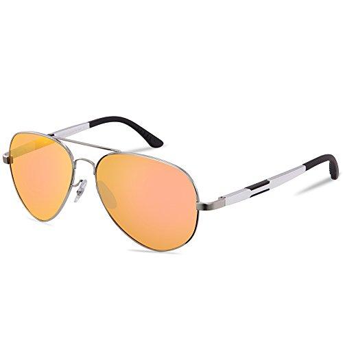 DUCO Unisex Fliegerbrille Polarisierte Sonnenbrille, Pilotenbrille mit Federscharnier, Etui und Putztuch, 3026 (Silber/Rosa)