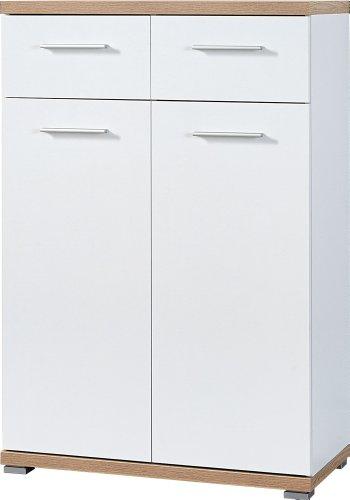 Germania 3190-178 Schuhschrank GW-Top in Weiß/Absetzung Sonoma-Eiche-Nachbildung, 74 x 110 x 37 cm (BxHxT)