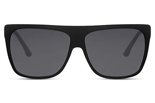 Cheapass Sunglasses Sonnenbrille Flach Matt schwarzer Rahmen und dunklen Gläsern Übergröße XXL UV400 Designer Schattierungen Frauen Gold Metallbügel