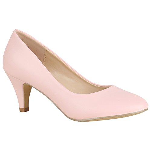Klassische Damen Pumps Leder-Optik Schuhe Stiletto Mid Heels Basic Abendschuhe Kleiner Absatz 156078 Rosa Avelar Basic 36 Flandell
