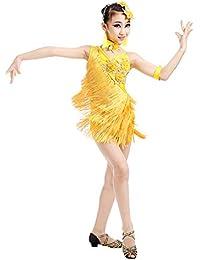 42212629c8d0 besbomig Bambini Festa Competizione Dancewear Vestiti da Ballo Latino Salsa  Tango - Ragazze Paillettes Nappe Ballroom