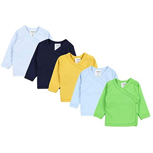 TupTam Baby Jungen Langarm Wickelshirt Baumwolle 5er Set, Farbe: Mehrfarbig 4, Größe: 68