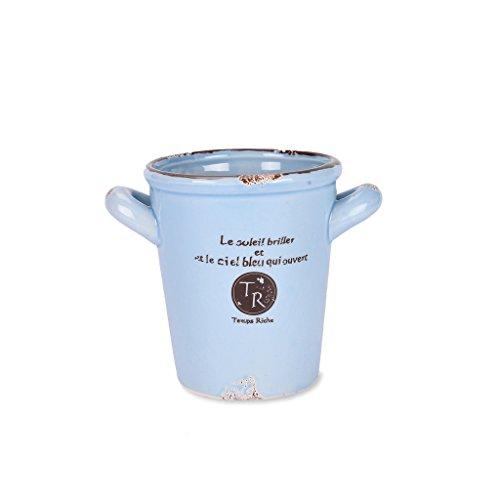 scrafts blue ceramic/procelain artificial/original flower pot/planter/container with drainage hole for home décor/ garden décor/ hall décor/ table décor  available at amazon for Rs.225
