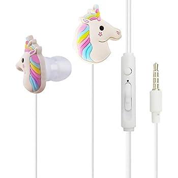 Qearfun intra-auriculaires filaire 3.5 mm 3d mignon Dessin animé Animal Licorne Écouteurs