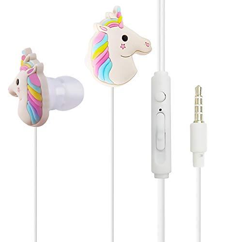 Qearfun in-Ear Wired 3,5 mm 3D Cute Cartoon Tier Einhorn Kopfhörer/Ohrstöpsel/Kopfhörer mit Mikrofon Freisprecheinrichtung für Apple, Samsung, HTC, Android Smartphones MP3 - Cd-player Cute