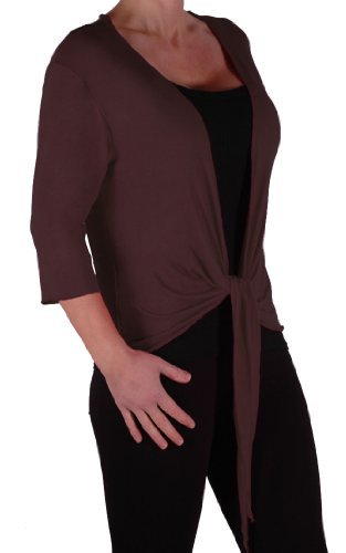 Eye Catch - Rivera Damen Mid Länge Bolero Cardigan Shrug Wrap Cardi Braun Größe 44