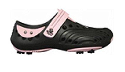 Dawgs Golfschuhe Damen Gr. 40 Schwarz-Pink - Weiches und haltbares Eva-Material - Herausnehmbare Schaumeinlegesohle - Geformte Fußgewölbestütze - Dick Gepolsterte Ferse