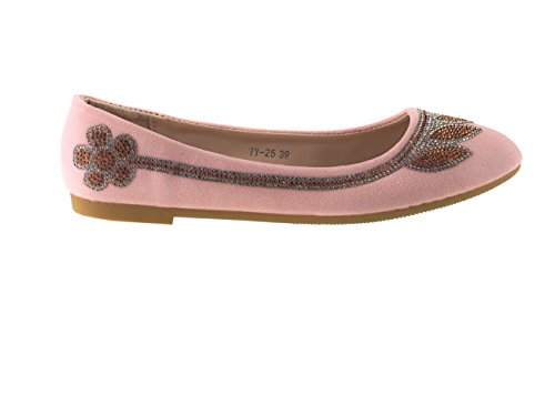 Fashion4Young , Ballerines pour femme Pink Multicolor 36 Rose