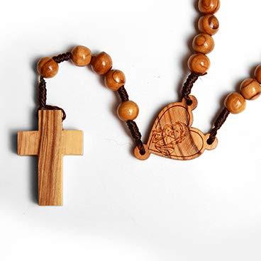 KASSIS Olivenholz Rosenkranz mit Herz und Madonna 41 cm Gute Qualität - hergestellt in Bethlehem