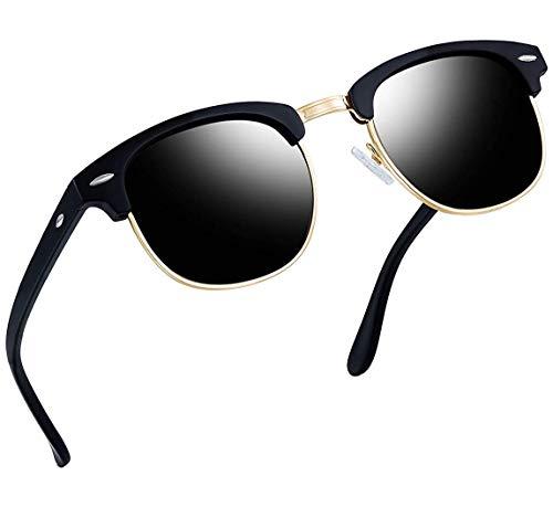 Joopin Semi Rimless polarisierte Frauen Sonnenbrillen, UV400 Brand Designer Halbrahmen Männer Sonnenbrille H9041(Matte schwarze Rahmen)