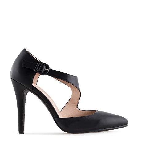 Andres Machado - Zapatos de Vestir de Sintético para Mujer, Color Negro, Talla 34 EU