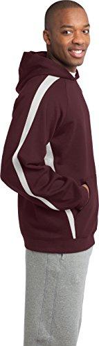 Sport-Tek da uomo maniche a righe pullover felpa con cappuccio Maroon/ White