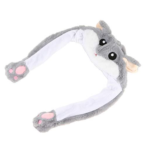 F Fityle Dame Mädchen Cosplay Plüsch Tier Hut Spielzeug mit Beweglichen Ohren Tiermütze, Machen die Ohren Bewegen durch Kneifen Airbag - Hamster