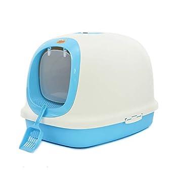 Wcx Bac à litière pour Chat, Toilettes pour Chat, entièrement fermé, résistant aux éclaboussures, désodorisant, très Grand lit, Toilette pour Chat fermé (Couleur : Bleu, Taille : 62X44X46CM)