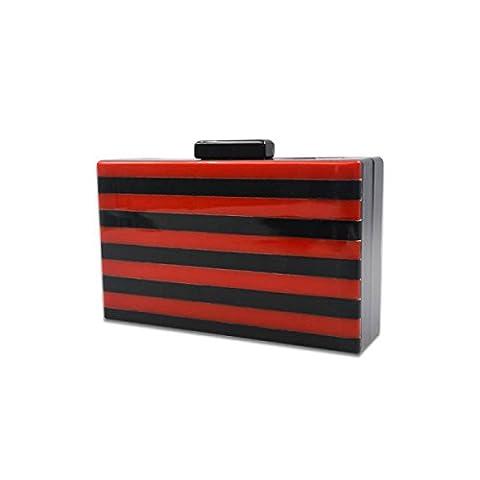 Fabelhaft Rechteckige Acryl Zweifarbige Streifen Spleißen Abendessen Paket,Red
