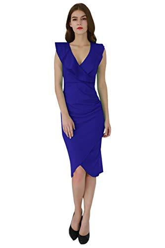 YMING Damen Midi Kleid Rüsche Kleid Tief V-Ausschnitt Partykleid Bodycon Stretchkleid,Blau,XL/DE 42-44