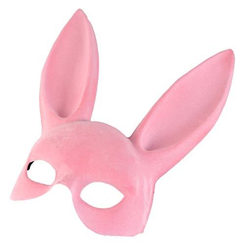Amosfun Osterhase Ohr Maske Half Face Bunny Ohr Maske für Party Bar Kostüm Cosplay Zubehör