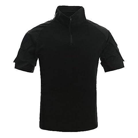 TACVASEN Black Men's T-Shirt Cotton Short Sleeve Shirts