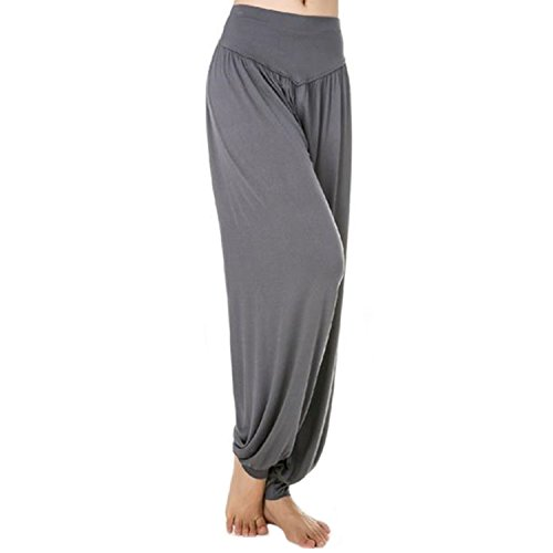 MEISHINE® Damen Modal Elastisch Haremshose Pluderhose Pumphose Ideal für Sport Yoga Tanz Jogging Dance (Size XL, Dark Grau)