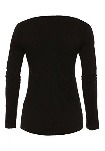 DAILY'S BAILEY Damen basic Langarmshirt mit V-Ausschnitt aus 100% Bio-Baumwolle - soziale fair trade Kleidung, Mode vegan und nachhaltig Color navy, Size S - 2