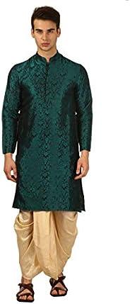 Devyom Men's Silk Straight Regular Fit Dhoti Kurta Set (Gr