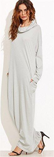 Sexy Manches Longues Cowl Encolure Long Longue Maxi Shift Boxy Straight Ligne Droite Colonne T-Shirt Dress Robe Gris Gris