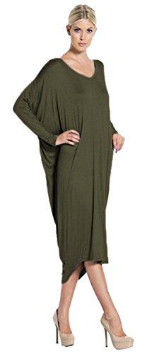 Alaix hem vestito da autunno manica lunga allentata irregolare delle donne army green